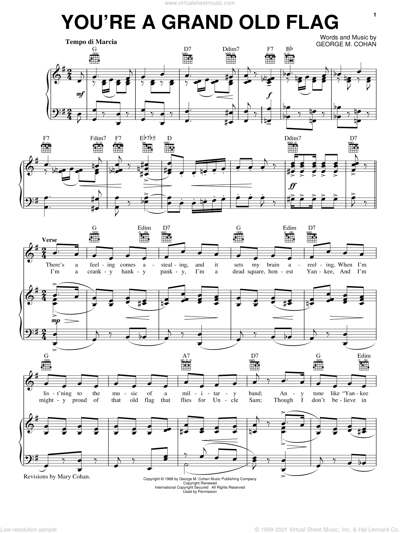You're A Grand Old Flag sheet music for voice, piano or guitar by George Cohan, intermediate skill level