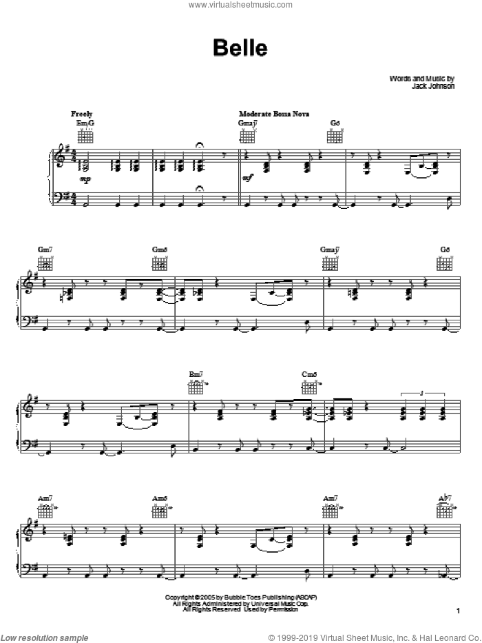 Belle sheet music for voice, piano or guitar by Jack Johnson. Score Image Preview.