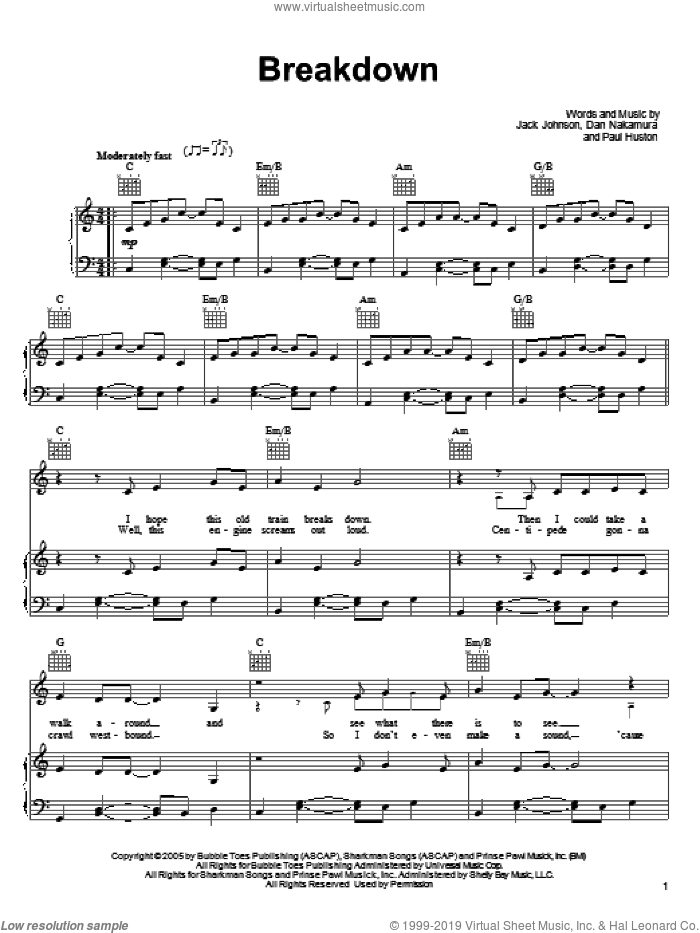 Breakdown sheet music for voice, piano or guitar by Paul Huston
