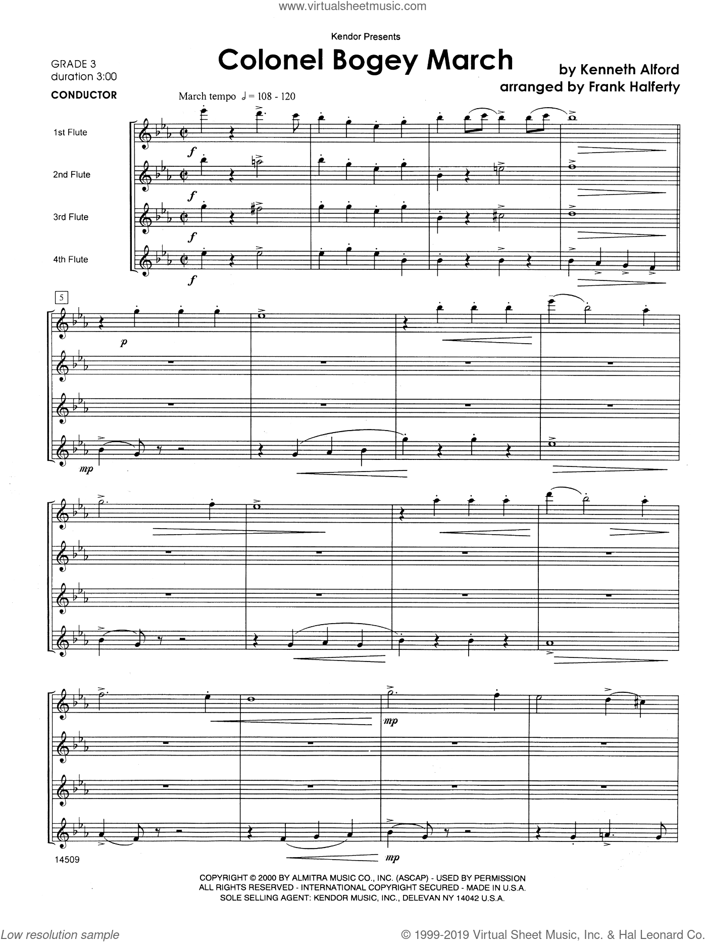 Colonel Bogey March sheet music for flute quartet (full score) by Halferty