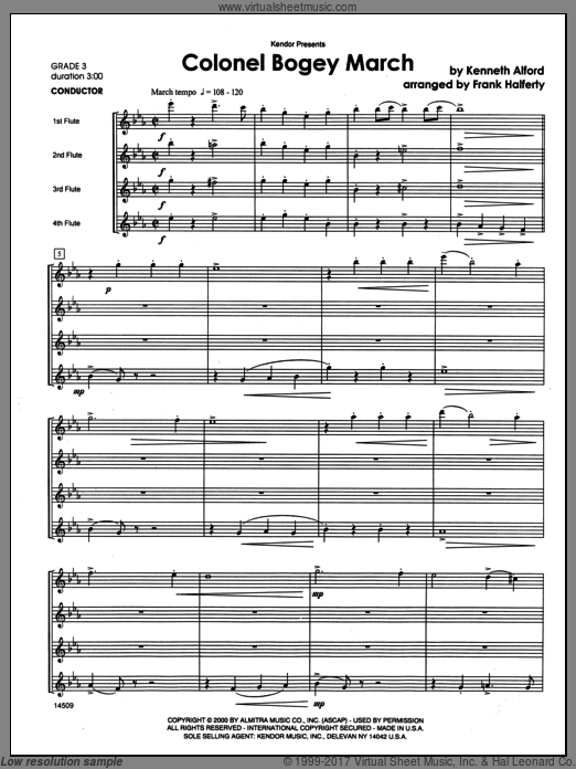 Colonel Bogey March (COMPLETE) sheet music for flute quartet by Halferty
