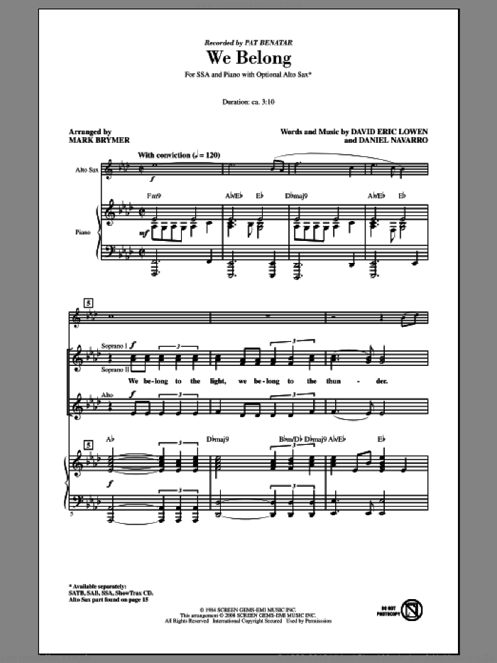 We Belong sheet music for choir (soprano voice, alto voice, choir) by Mark Brymer and Pat Benatar. Score Image Preview.
