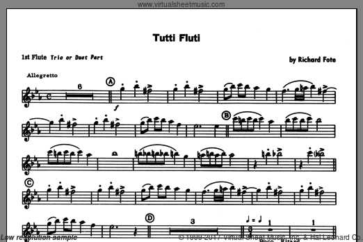 Tutti Fluti (COMPLETE) sheet music for flute quartet by Fote