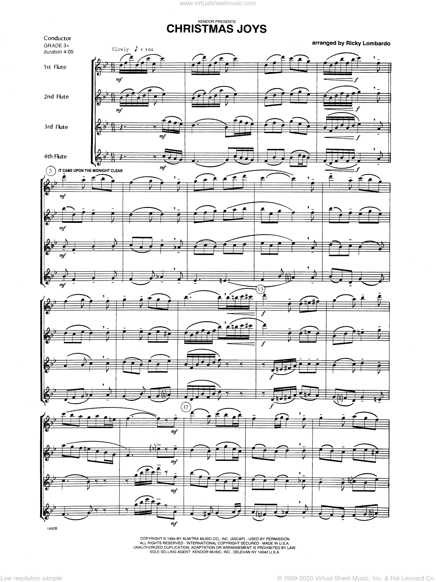 Christmas Joys sheet music for flute quartet (full score)