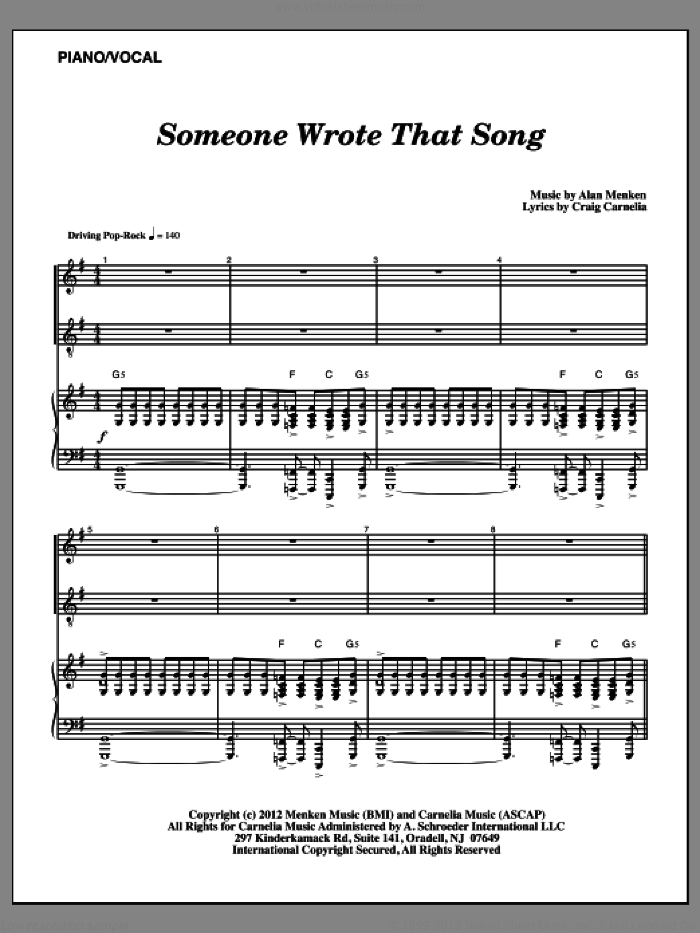 Someone Wrote That Song sheet music for voice and piano by Alan Menken and Craig Carnelia, intermediate. Score Image Preview.