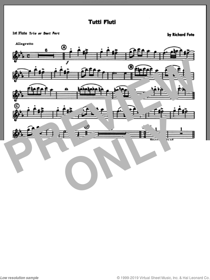 Tutti Fluti (complete set of parts) sheet music for flute quartet by Richard Fote, classical score, intermediate skill level