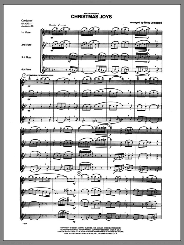 Christmas Joys (COMPLETE) sheet music for flute quartet by Lombardo and Miscellaneous, classical score, intermediate. Score Image Preview.