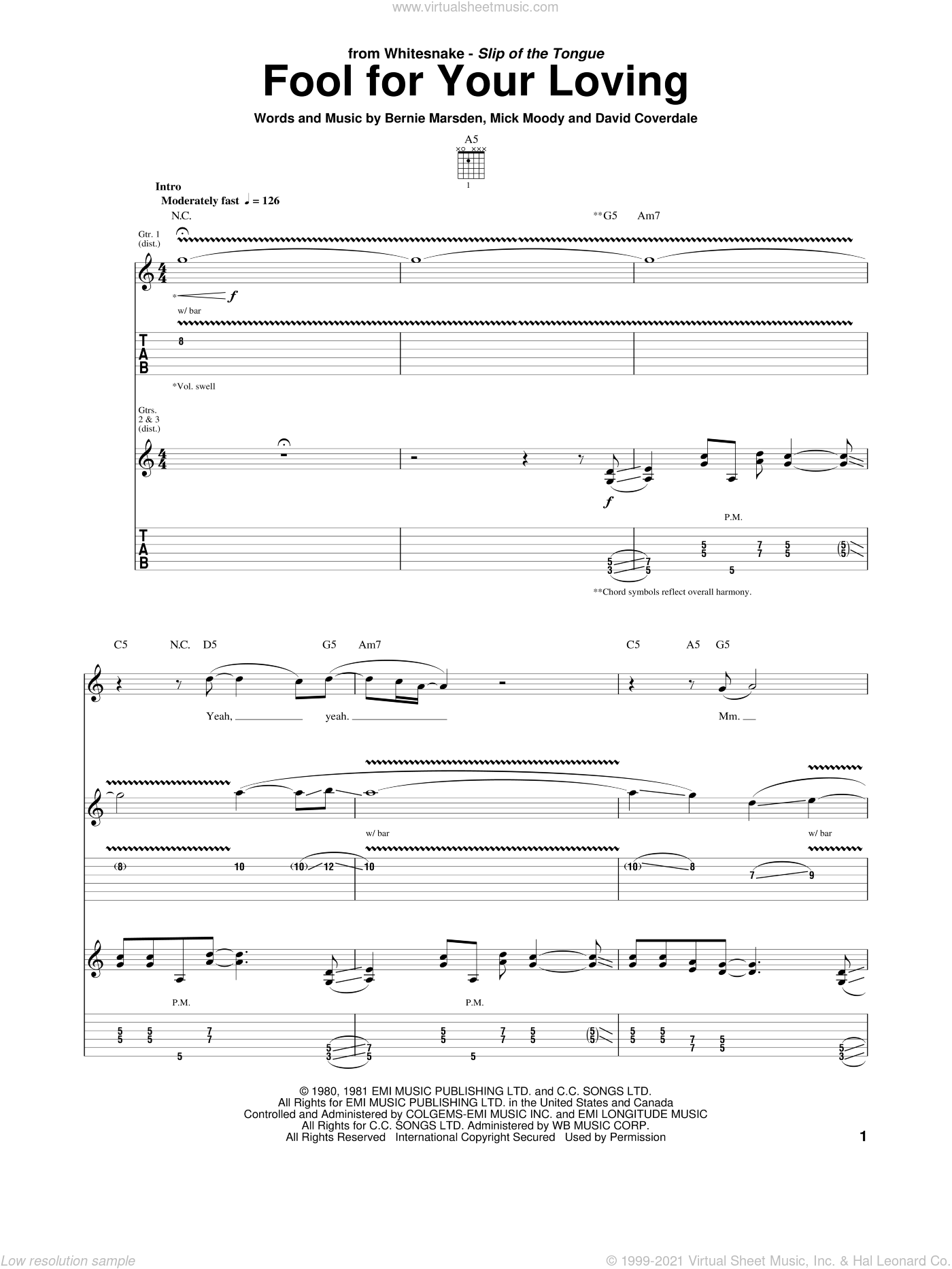 Fool For Your Loving sheet music for guitar (tablature) by Whitesnake, Bernie Marsden and David Coverdale, intermediate guitar (tablature). Score Image Preview.