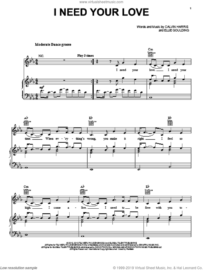 I Need Your Love sheet music for voice, piano or guitar by Calvin Harris and Ellie Goulding. Score Image Preview.