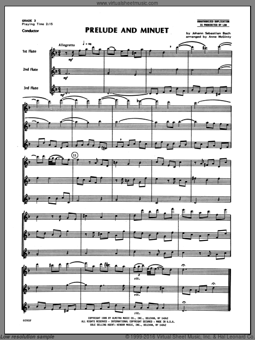 Prelude And Minuet (COMPLETE) sheet music for flute trio by Mcginty and Johann Sebastian Bach. Score Image Preview.