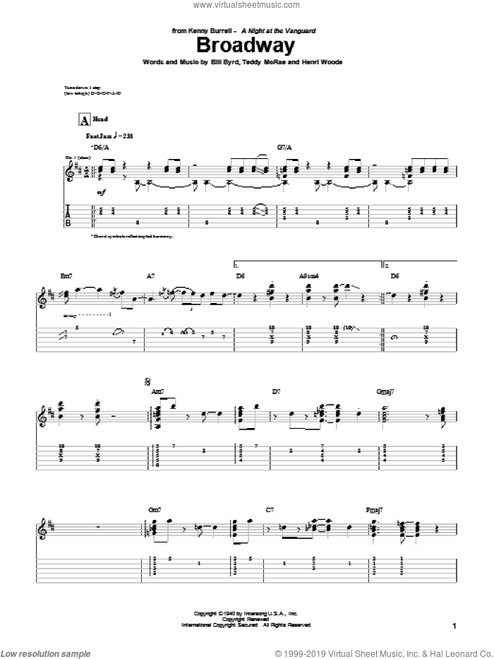Broadway sheet music for guitar (tablature) by Kenny Burrell, Count Basie, Bill Byrd, Henri Woode and Teddy McRae, intermediate skill level