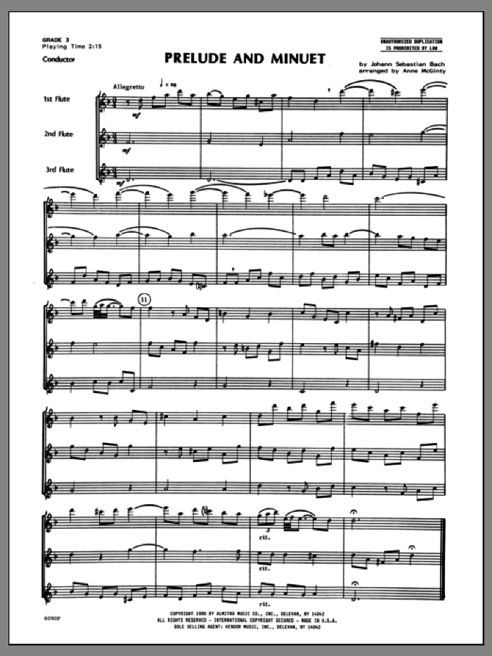 Prelude And Minuet (COMPLETE) sheet music for flute trio by Johann Sebastian Bach and Mcginty, classical score, intermediate skill level