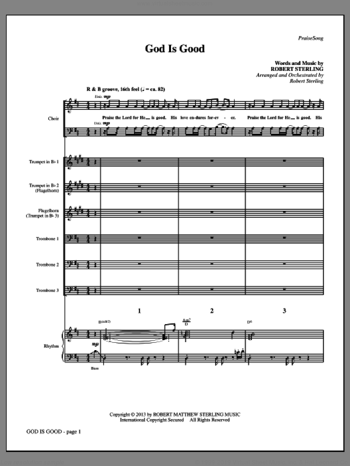 God Is Good (COMPLETE) sheet music for orchestra/band by Robert Sterling, intermediate skill level