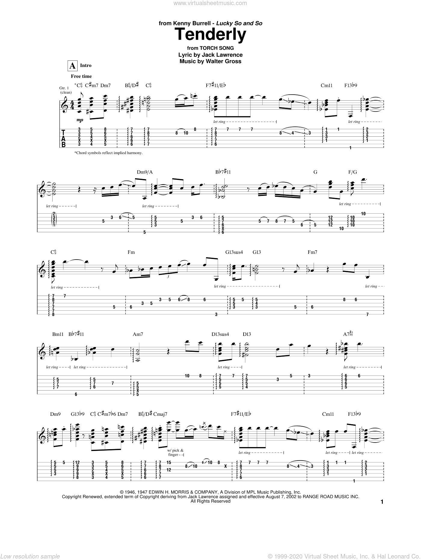 Tenderly sheet music for guitar (tablature) by Kenny Burrell, Jack Lawrence and Walter Gross, intermediate skill level