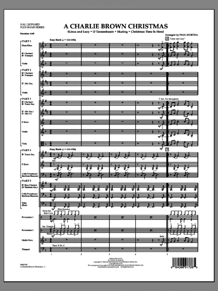 A Charlie Brown Christmas (COMPLETE) sheet music for concert band by Paul Murtha and Vince Guaraldi, intermediate skill level