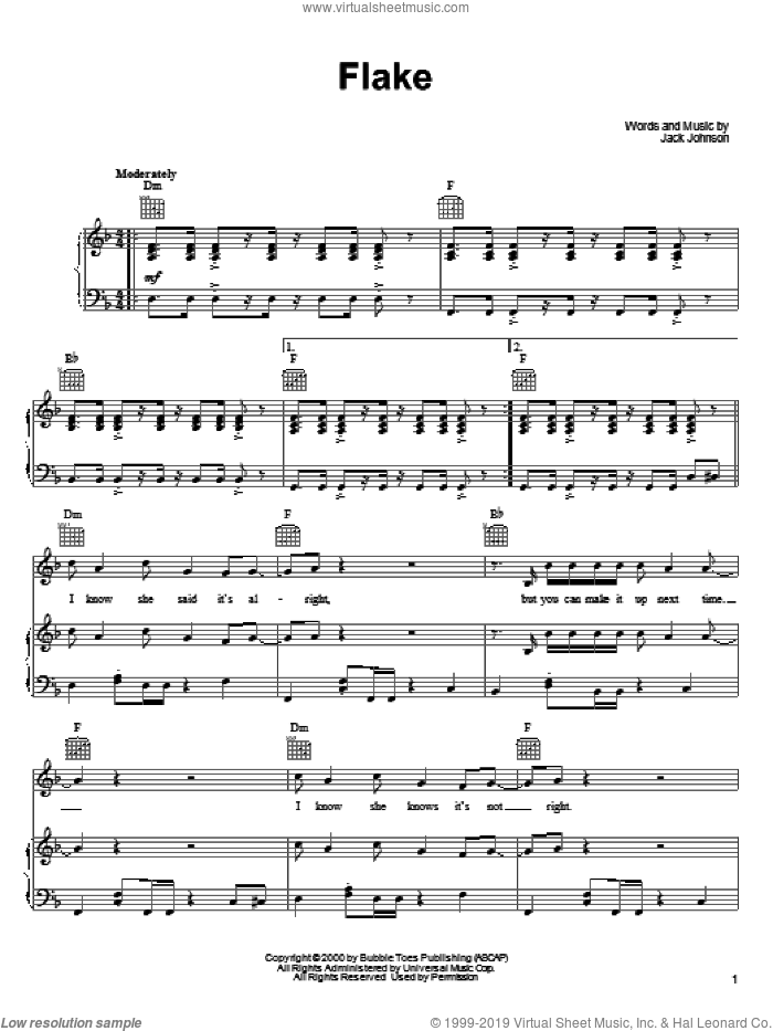 Flake sheet music for voice, piano or guitar by Jack Johnson, intermediate. Score Image Preview.