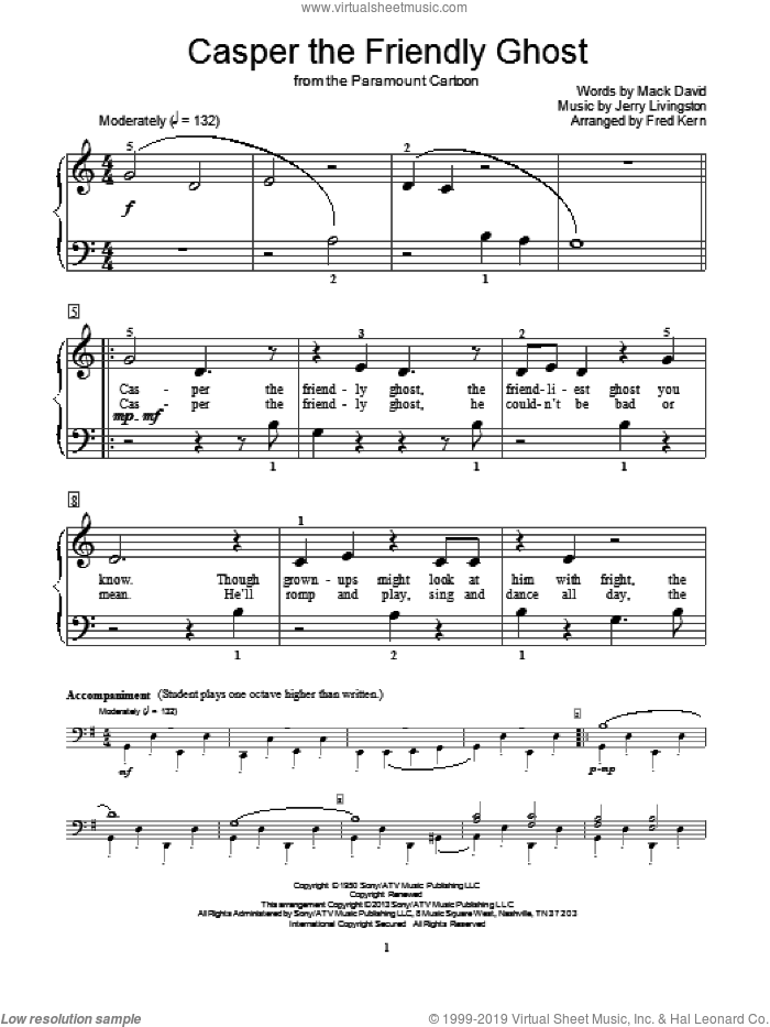 Casper The Friendly Ghost sheet music for piano solo (elementary) by Mack David, Fred Kern and Jerry Livingston, beginner piano (elementary)