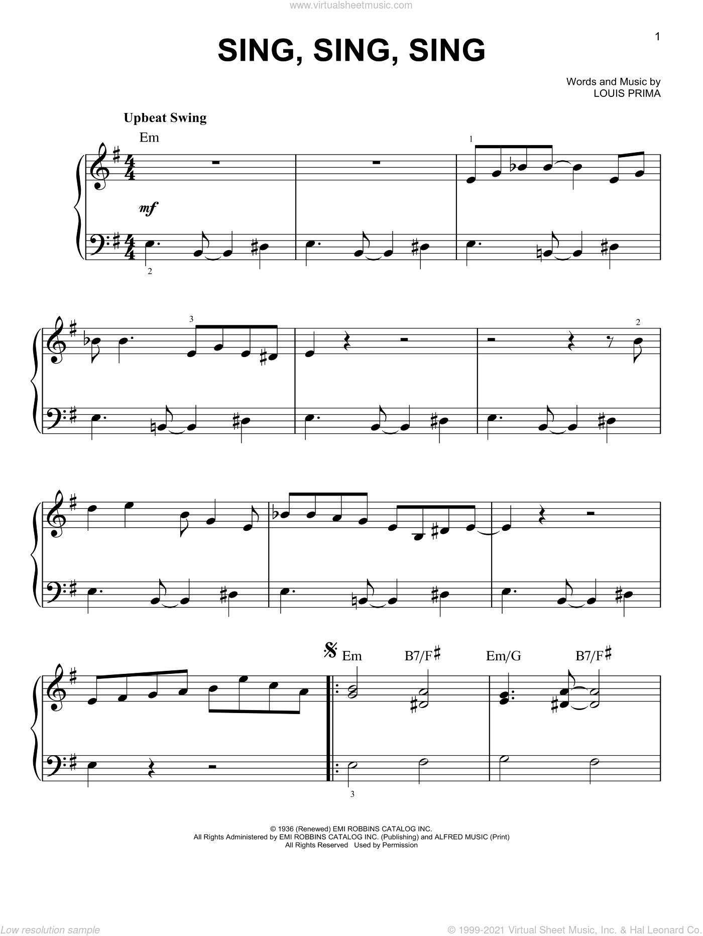 Sing, Sing, Sing, (easy) sheet music for piano solo by Benny Goodman and Louis Prima, easy skill level
