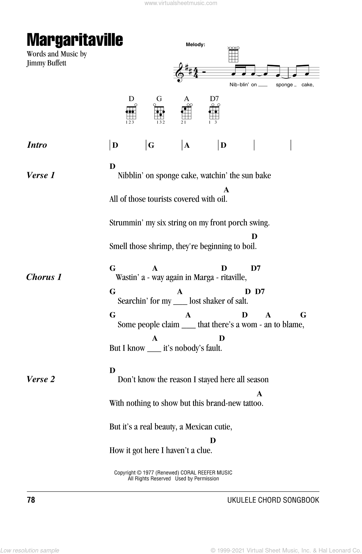 Margaritaville sheet music for ukulele (chords) by Jimmy Buffett, intermediate skill level