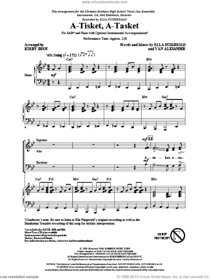 A-Tisket, A-Tasket sheet music for choir (SAB) by Ella Fitzgerald, Van Alexander, Kirby Shaw and Manhattan Transfer. Score Image Preview.