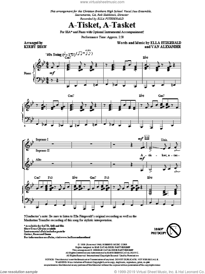 A-Tisket, A-Tasket sheet music for choir (SSA: soprano, alto) by Ella Fitzgerald, Van Alexander, Kirby Shaw and Manhattan Transfer, intermediate skill level