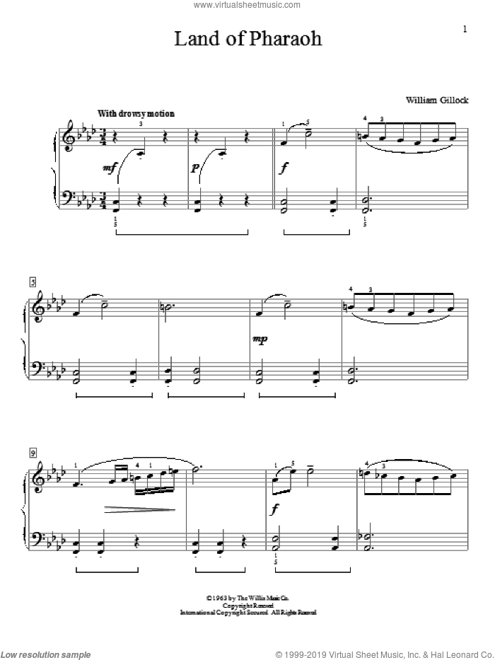 Land Of Pharaoh sheet music for piano solo (elementary) by William Gillock, beginner piano (elementary)
