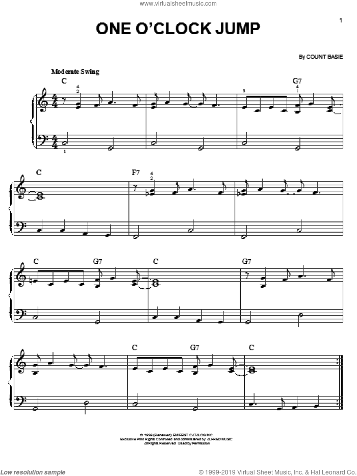 One O'Clock Jump sheet music for piano solo by Count Basie. Score Image Preview.