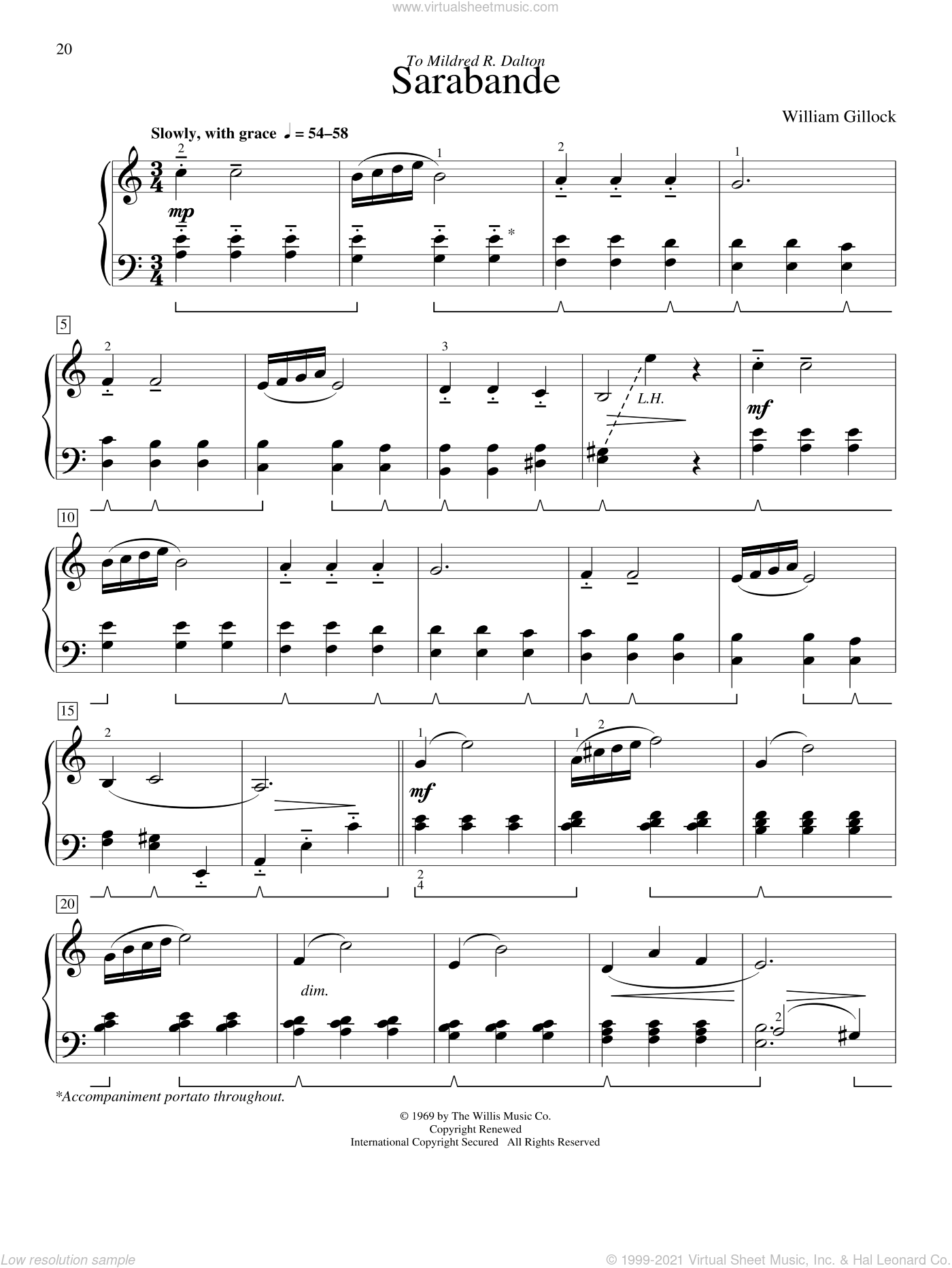 Sarabande sheet music for piano solo (elementary) by William Gillock, beginner piano (elementary)