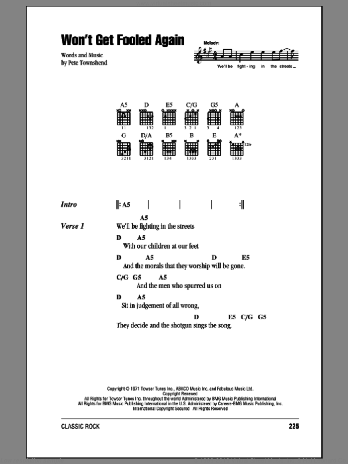 Won't Get Fooled Again sheet music for guitar (chords) by Pete Townshend and The Who. Score Image Preview.