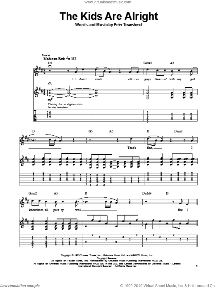 The Kids Are Alright sheet music for guitar (tablature, play-along) by The Who and Pete Townshend, intermediate. Score Image Preview.