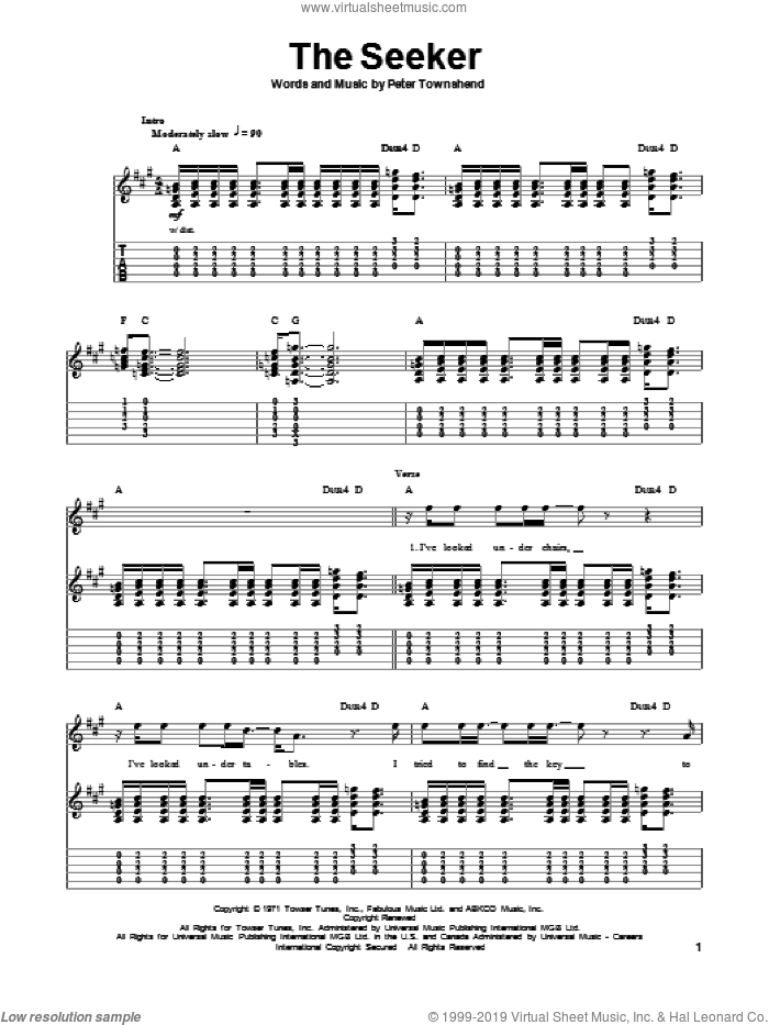The Seeker sheet music for guitar (tablature, play-along) by Pete Townshend