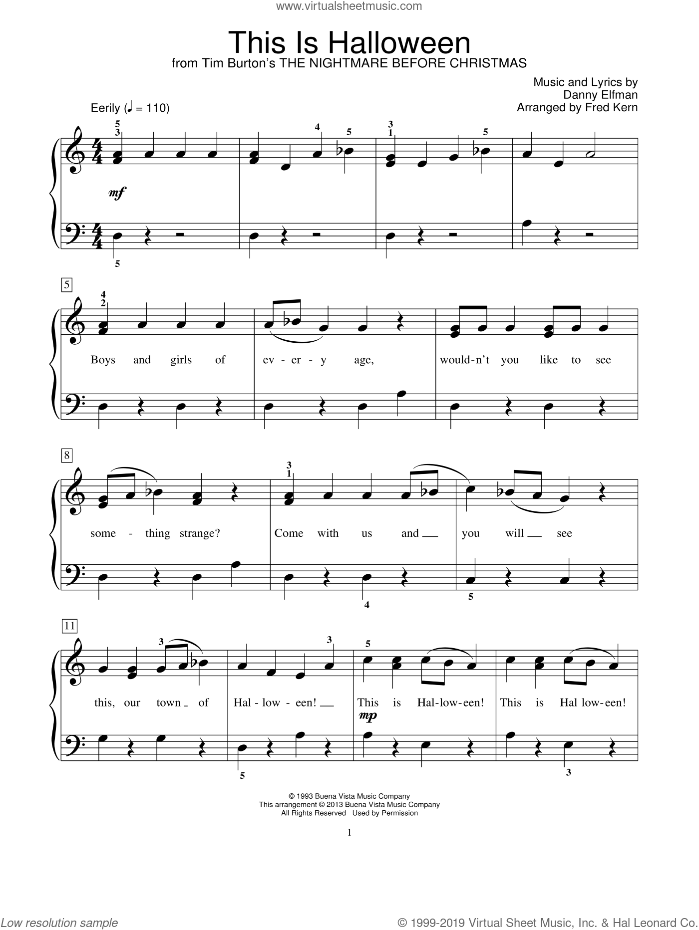 Nightmare Before Christmas Piano Sheet Music.Elfman This Is Halloween From The Nightmare Before Christmas Sheet Music Beginner For Piano Solo Elementary