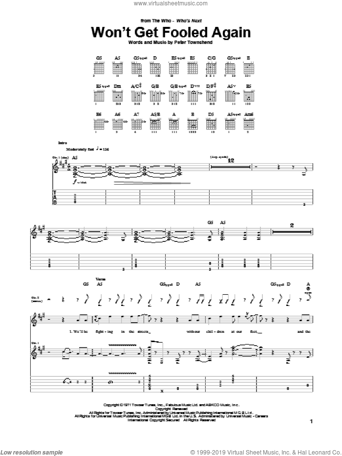 Won't Get Fooled Again sheet music for guitar (tablature) by Pete Townshend and The Who. Score Image Preview.