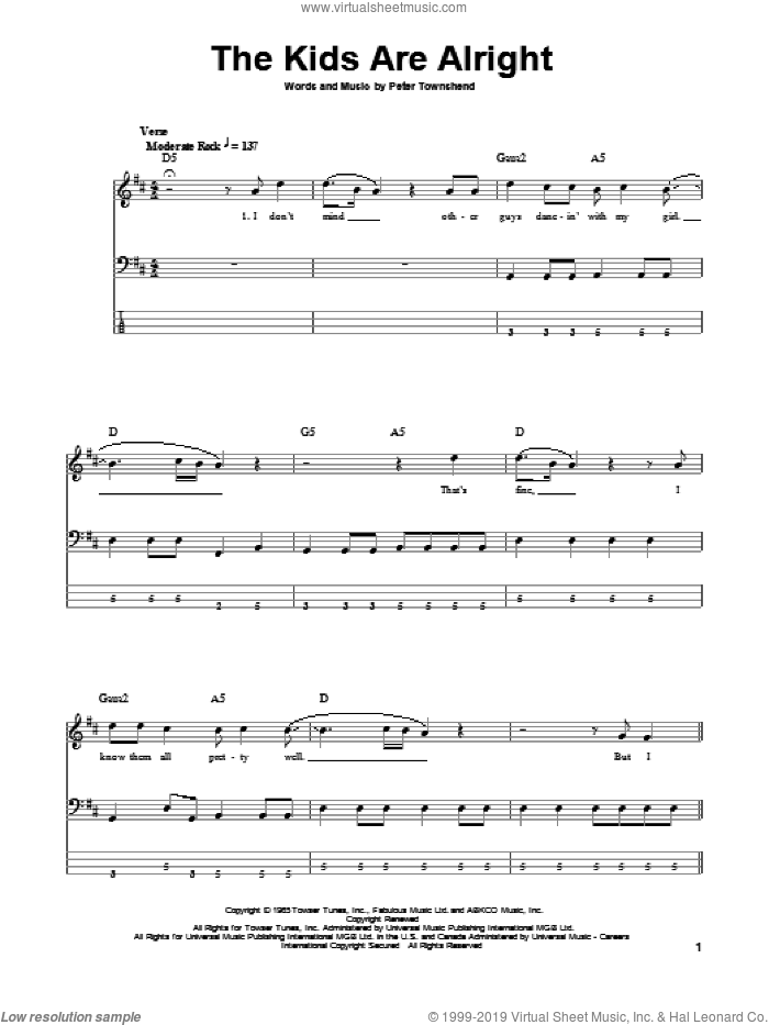 The Kids Are Alright sheet music for bass (tablature) (bass guitar) by The Who and Pete Townshend, intermediate skill level