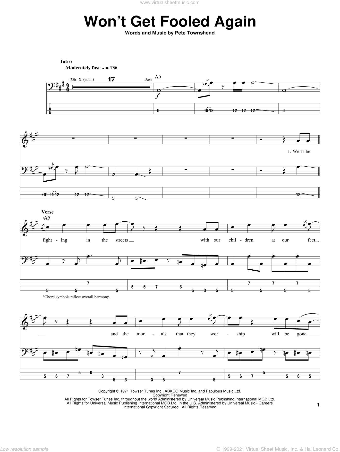 Won't Get Fooled Again sheet music for bass (tablature) (bass guitar) by Pete Townshend and The Who. Score Image Preview.