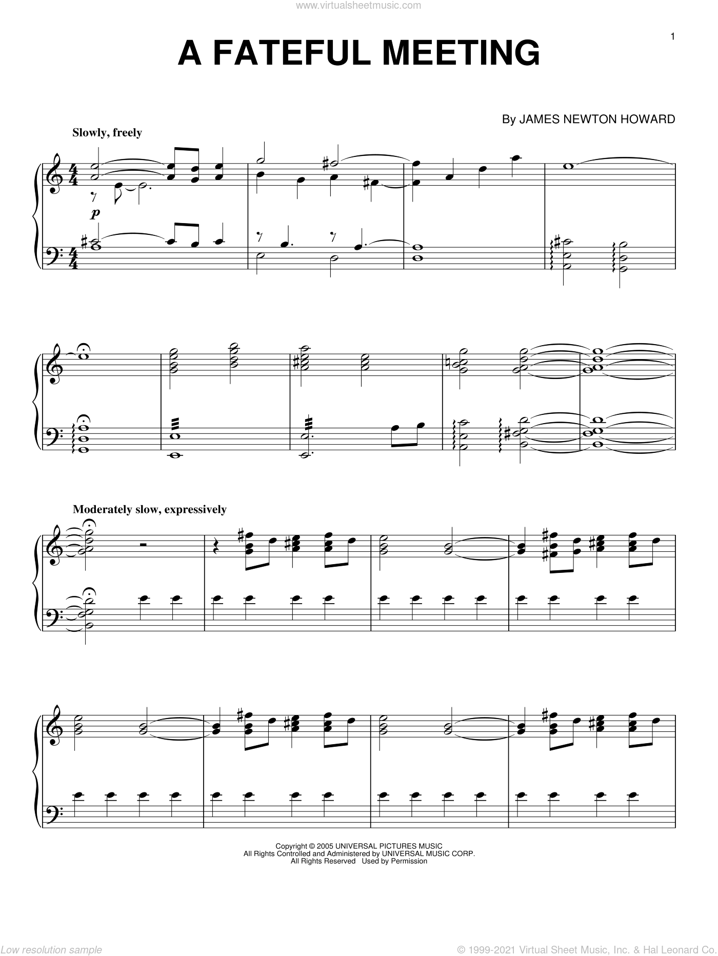 A Fateful Meeting sheet music for piano solo by James Newton Howard and King Kong (Movie), intermediate skill level