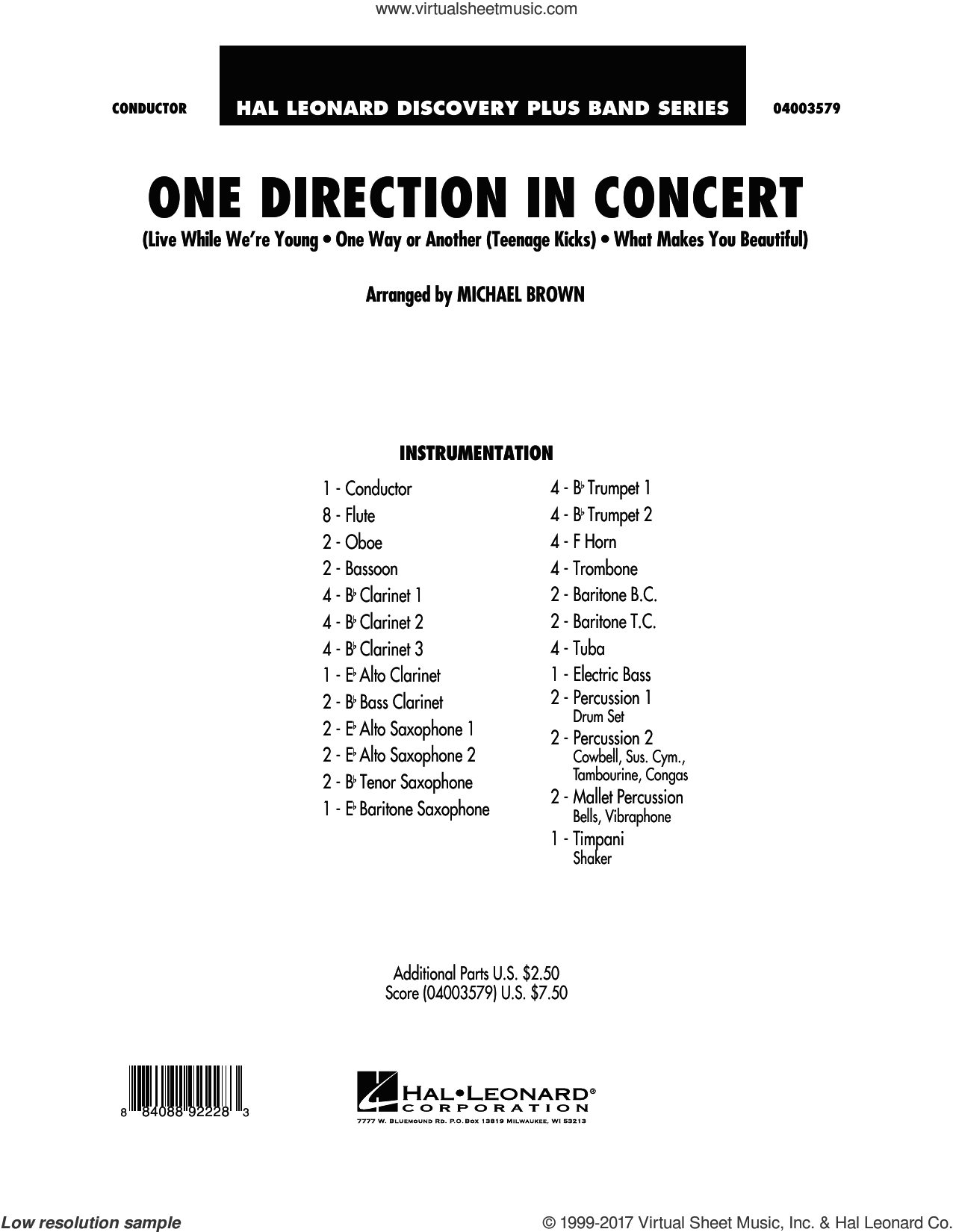 One Direction In Concert (COMPLETE) sheet music for concert band by Michael Brown and One Direction, intermediate skill level