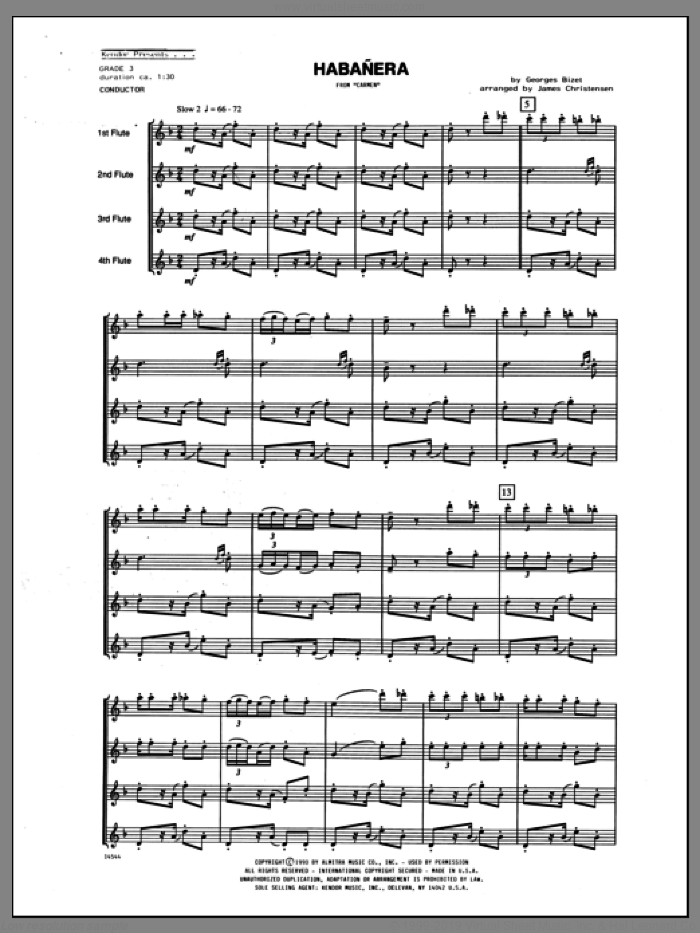 Habanera (from Carmen) (COMPLETE) sheet music for flute quartet by Christensen and Georges Bizet, classical score, intermediate skill level