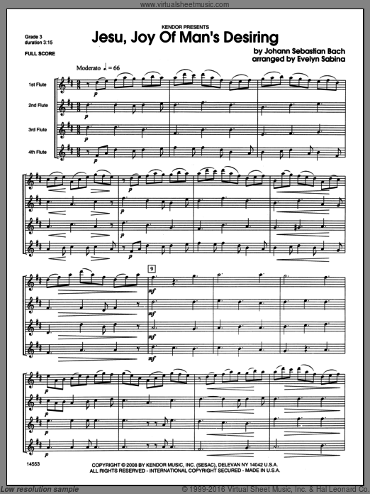 Jesu, Joy of Man's Desiring sheet music for flute quartet (full score) by Johann Sebastian Bach