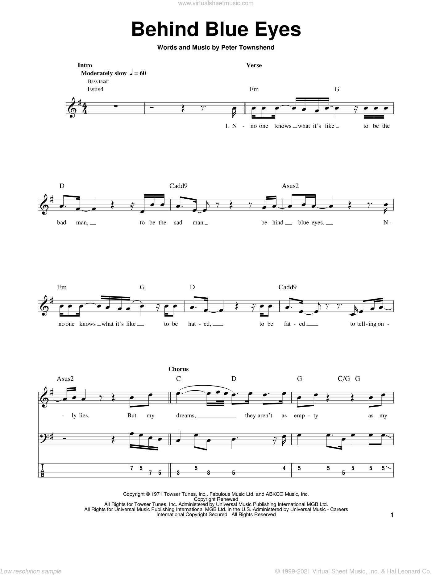 Behind Blue Eyes sheet music for bass (tablature) (bass guitar) by The Who, intermediate skill level