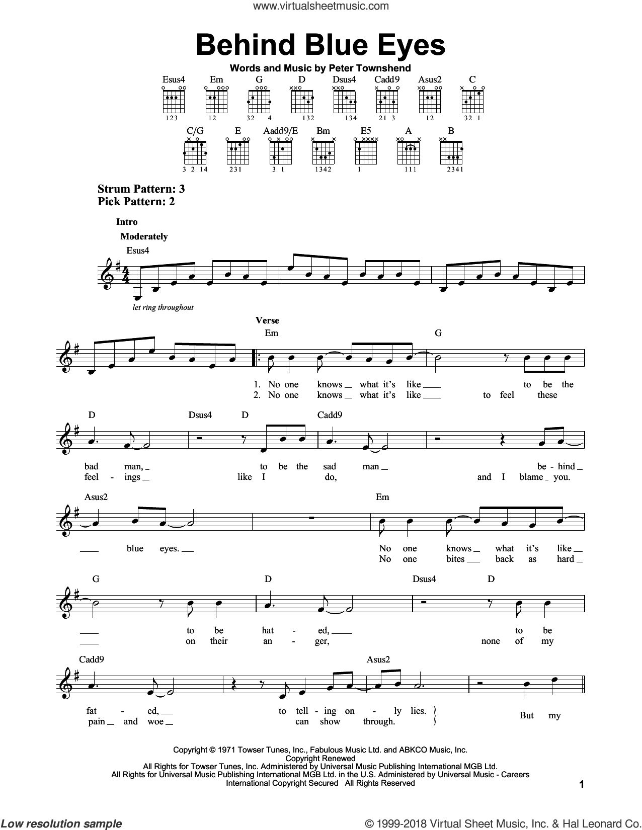 Behind Blue Eyes sheet music for guitar solo (chords) by The Who, easy guitar (chords). Score Image Preview.