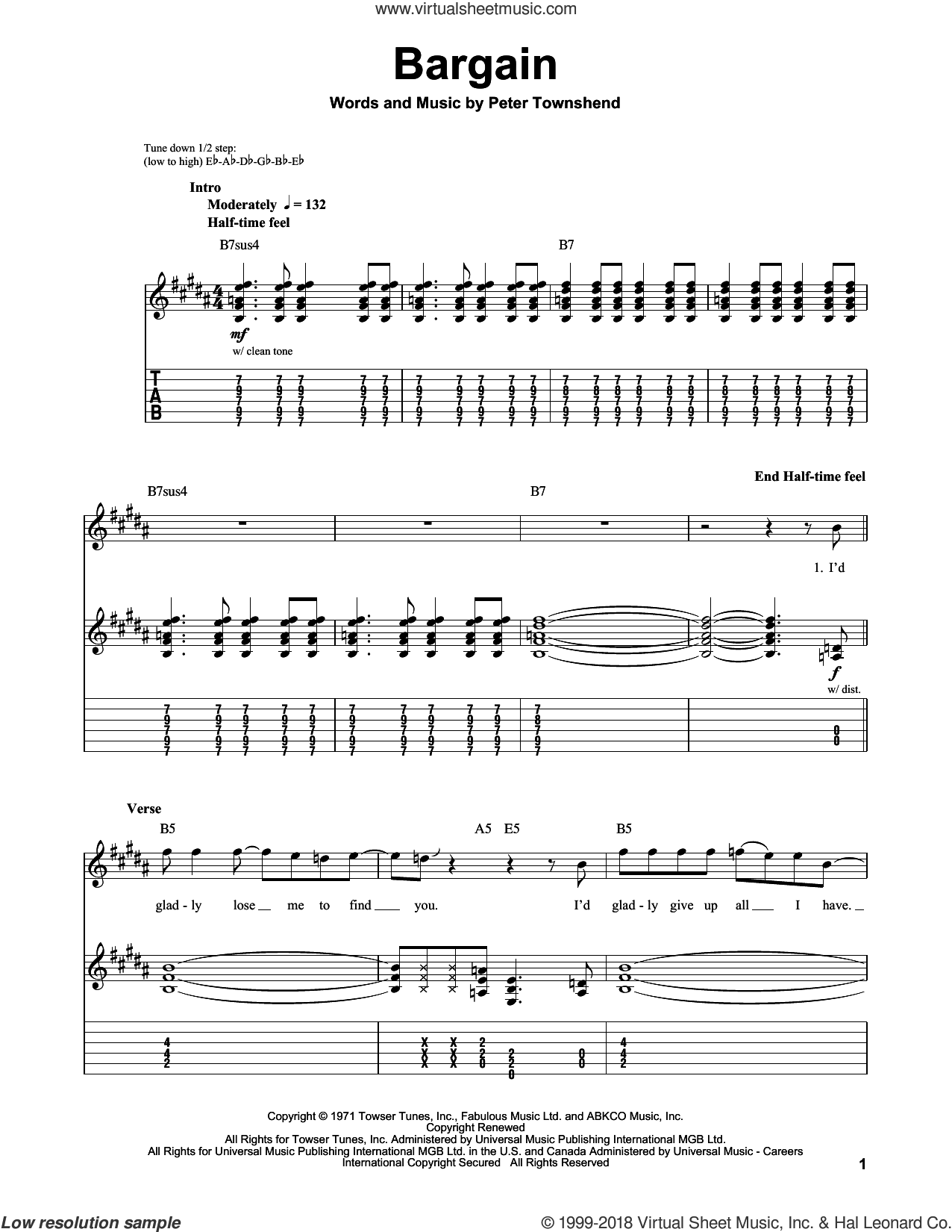 Bargain sheet music for guitar (tablature, play-along) by Pete Townshend