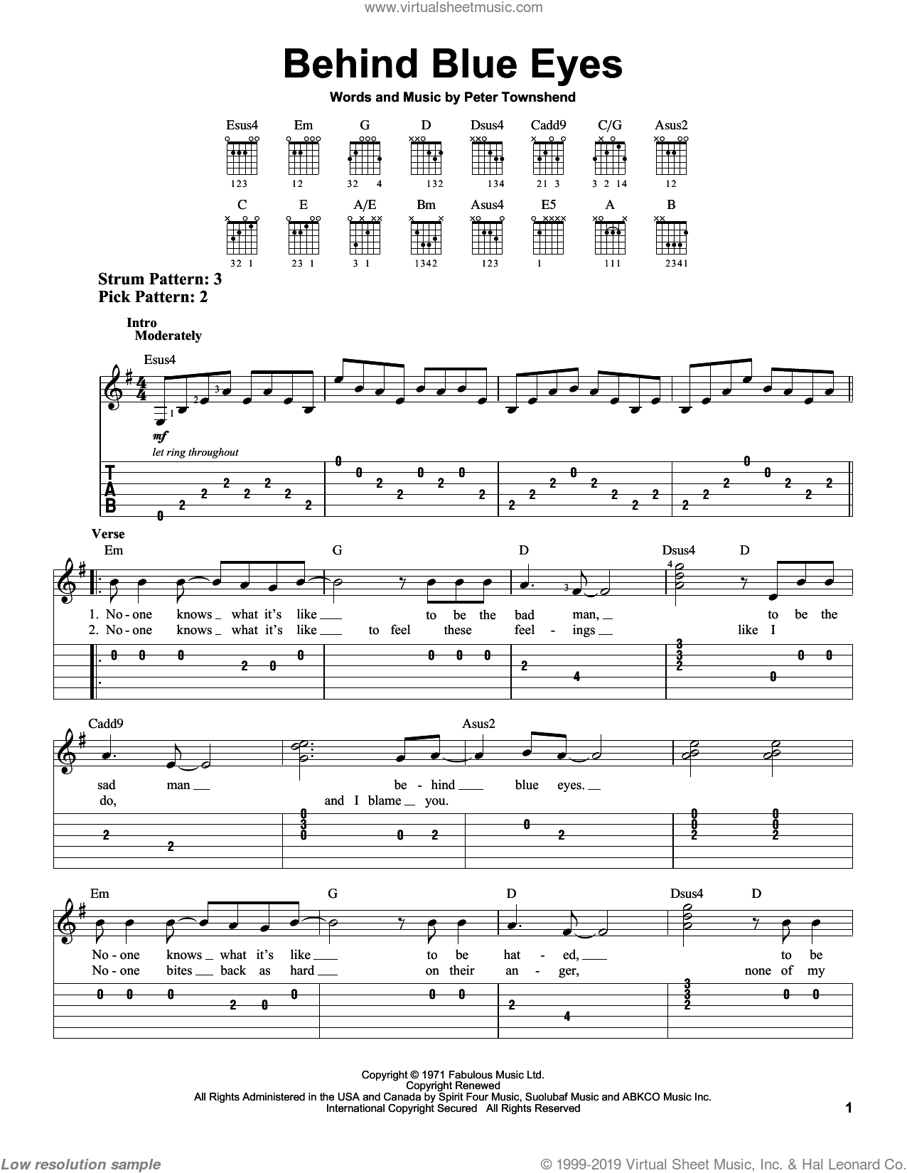 Behind Blue Eyes sheet music for guitar solo (easy tablature) by The Who, easy guitar (easy tablature). Score Image Preview.