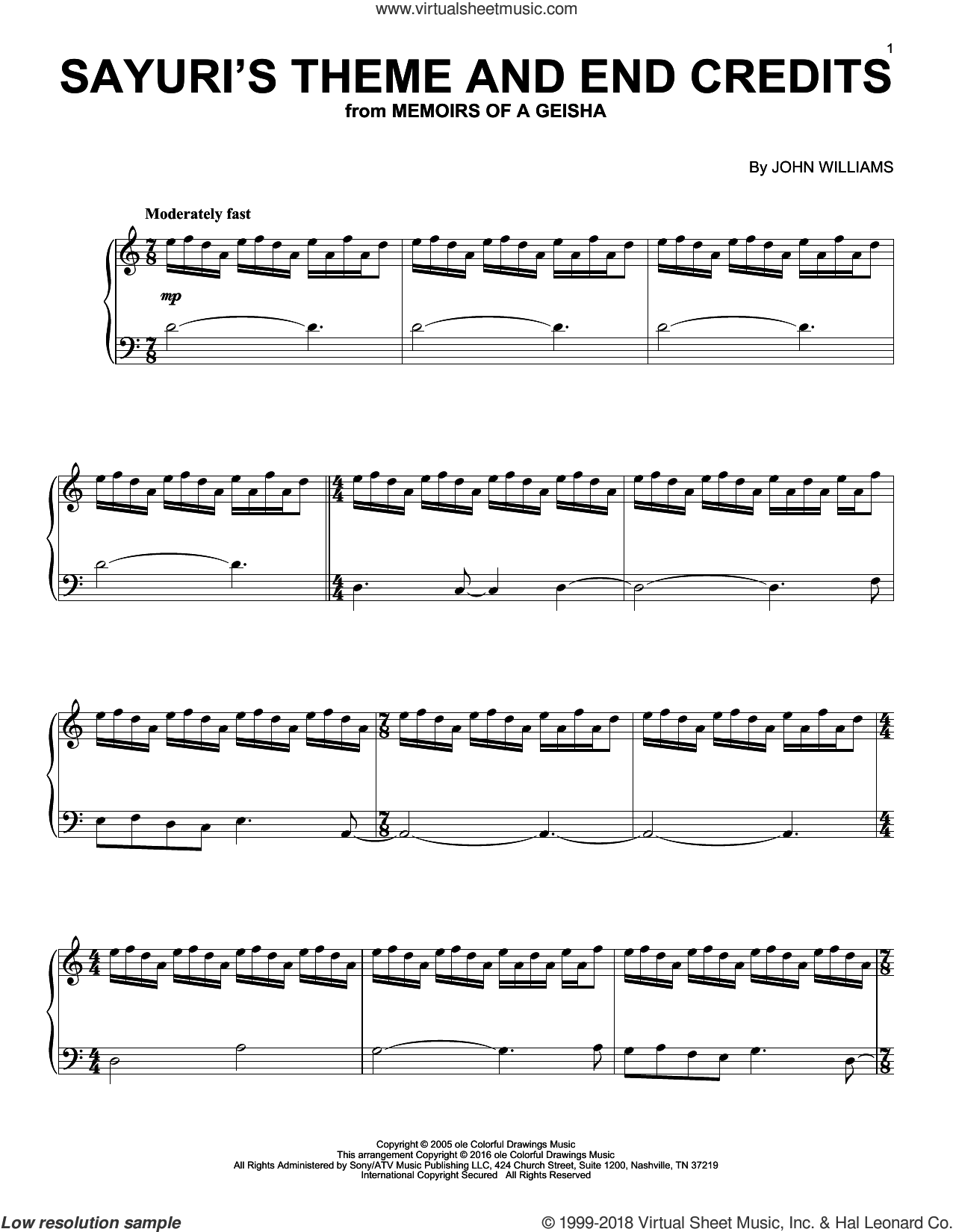 Sayuri's Theme And End Credits sheet music for piano solo by John Williams and Memoirs Of A Geisha (Movie), intermediate skill level