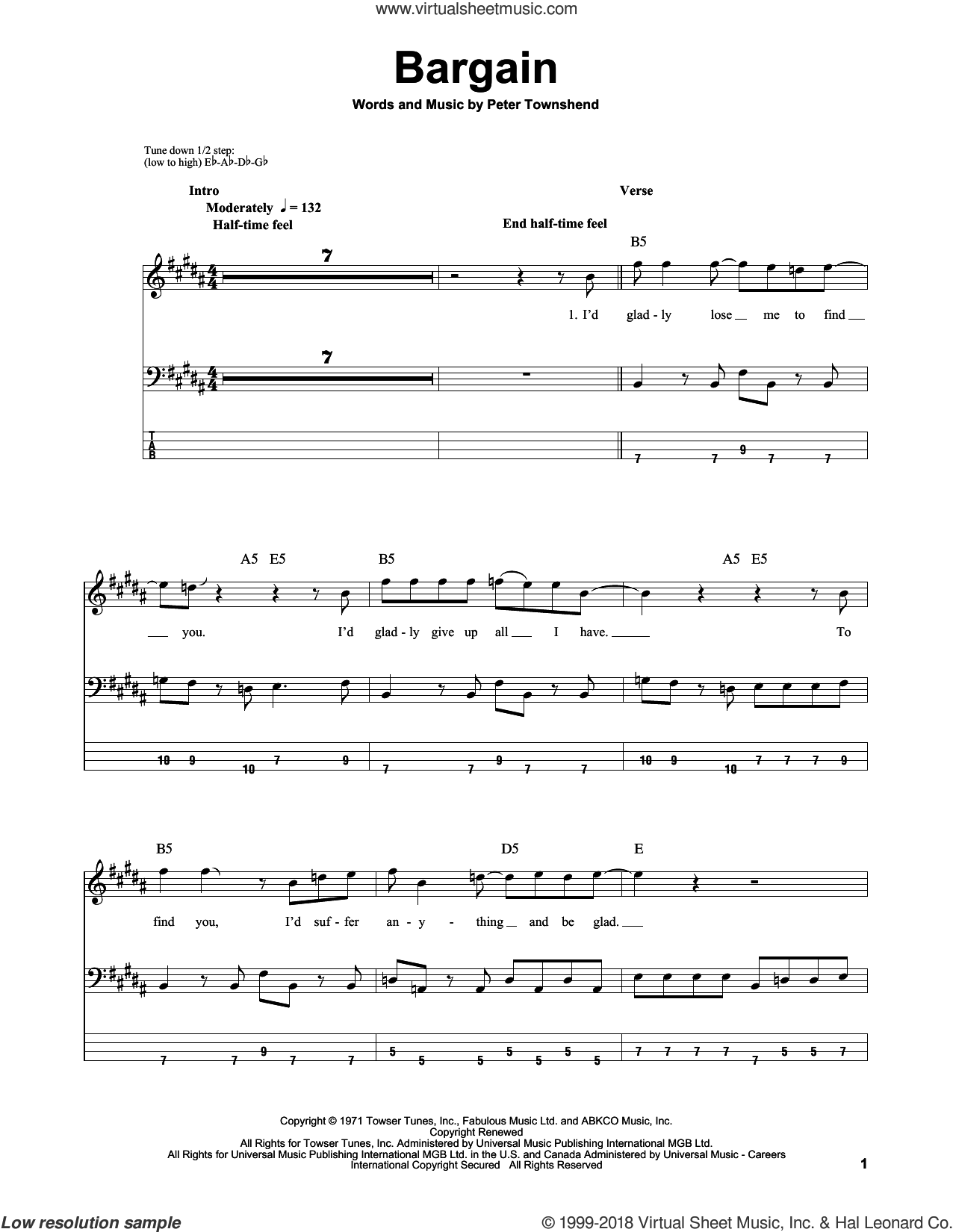 Bargain sheet music for bass (tablature) (bass guitar) by The Who and Pete Townshend, intermediate bass (tablature) (bass guitar). Score Image Preview.