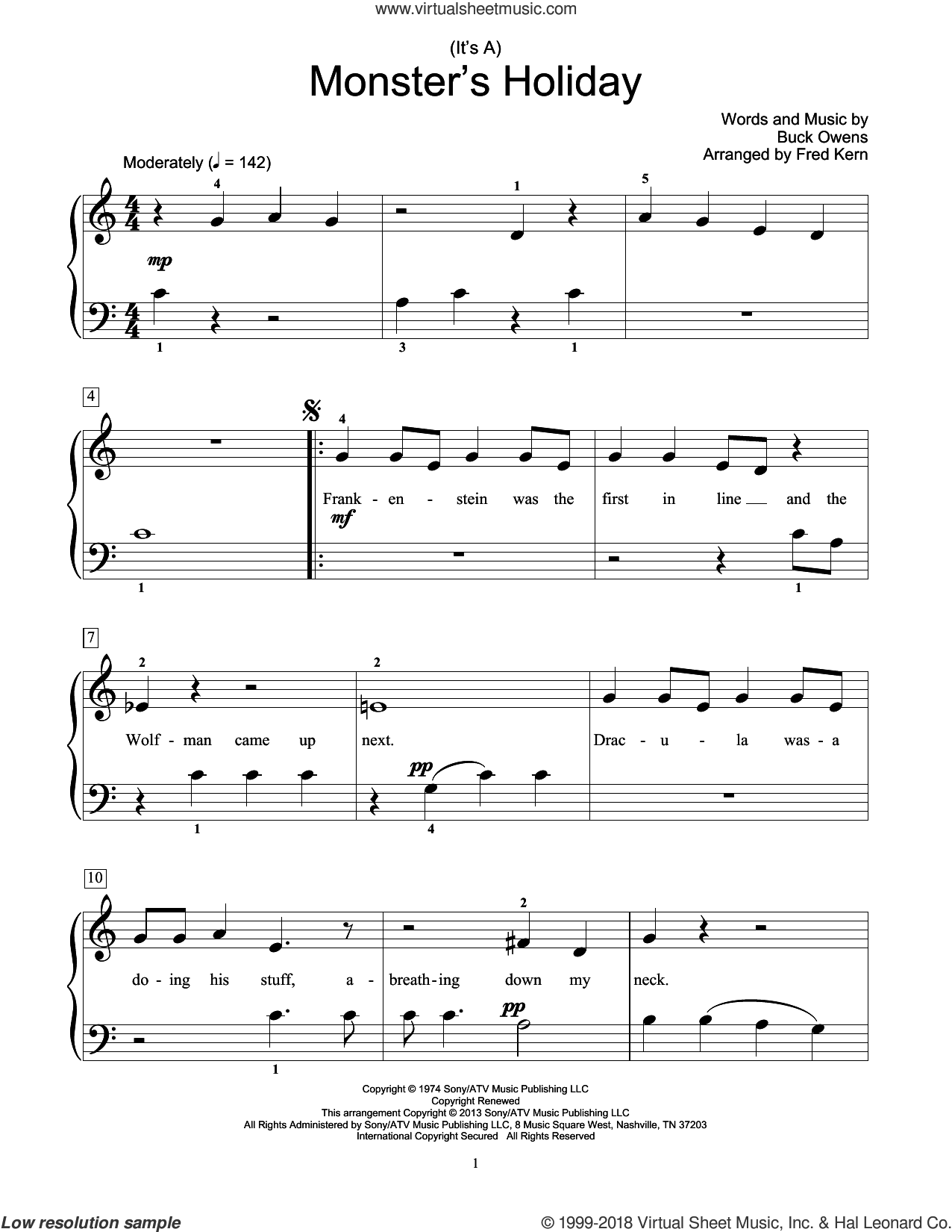 (It's A) Monster's Holiday sheet music for piano solo (elementary) by Fred Kern and Buck Owens. Score Image Preview.