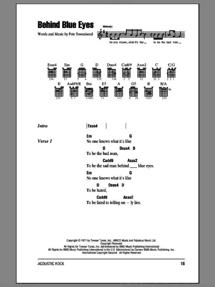 Behind Blue Eyes sheet music for guitar (chords) by The Who. Score Image Preview.