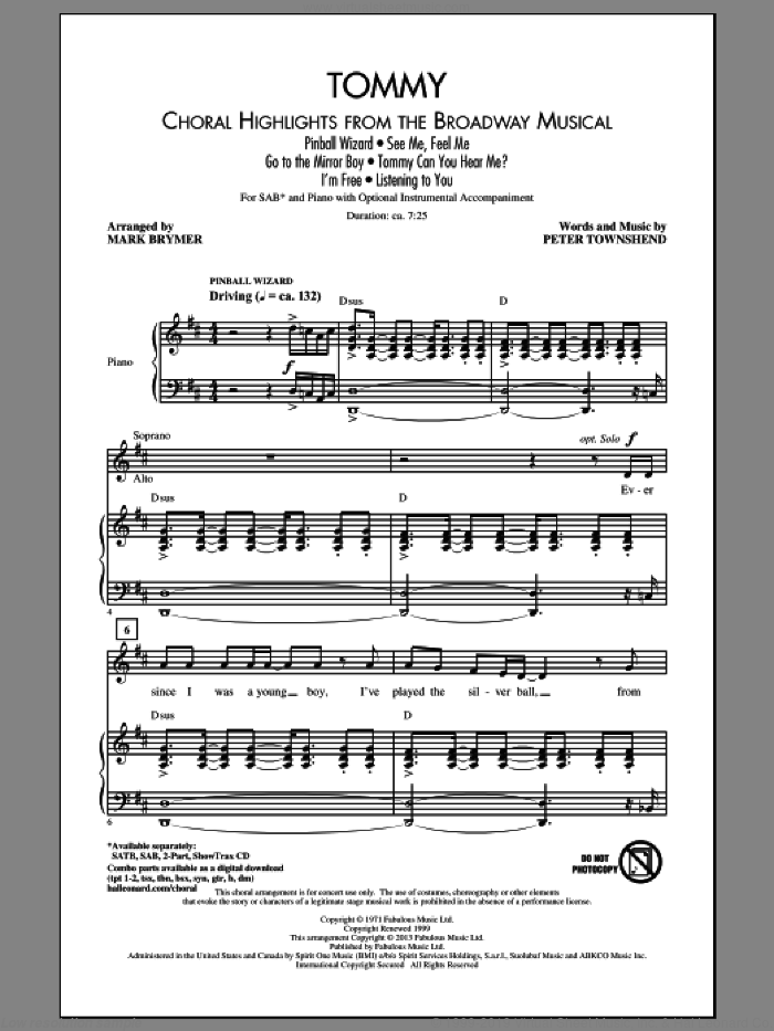 Go To The Mirror Boy sheet music for choir and piano (SAB) by Mark Brymer, Pete Townshend and The Who. Score Image Preview.
