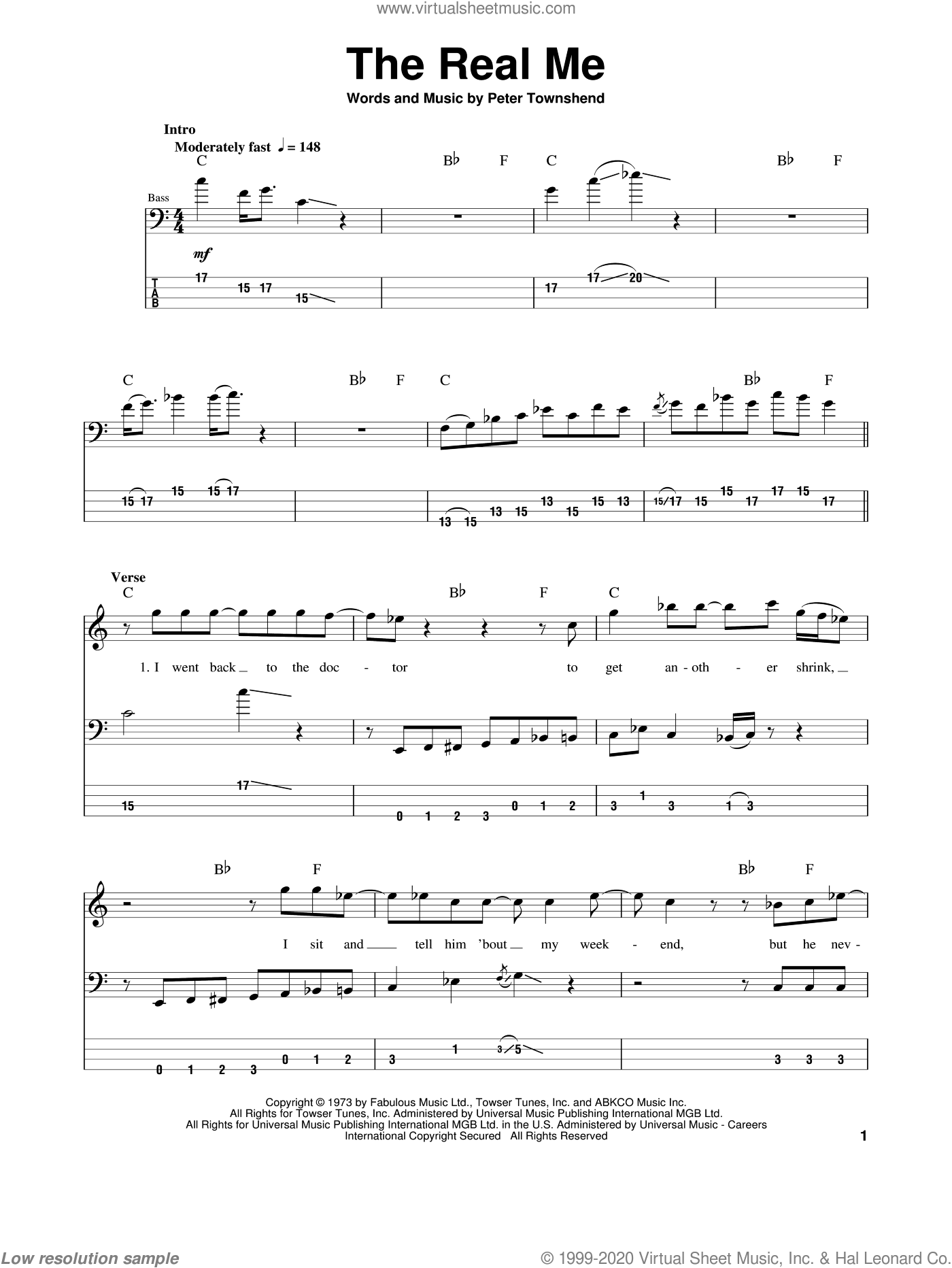 The Real Me sheet music for bass (tablature) (bass guitar) by The Who and Pete Townshend. Score Image Preview.