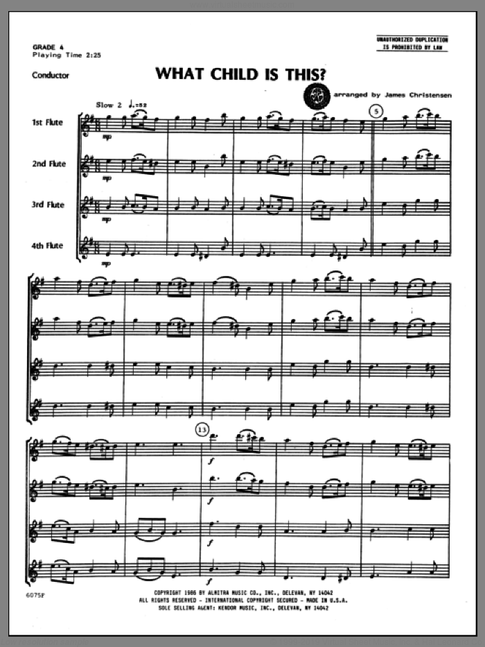 What Child Is This? (COMPLETE) sheet music for flute quartet by Christensen and Miscellaneous, classical score, intermediate skill level
